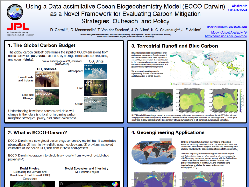 Presentation title page: Using a Data-assimilative Ocean Biogeochemistry Model (ECCO-Darwin) as a Novel Framework for Evaluating Carbon Mitigation Strategies, Outreach, and Policy